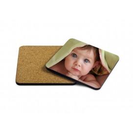 HB木质杯垫印图   带软木塞   个性定制方形木质杯垫热转印
