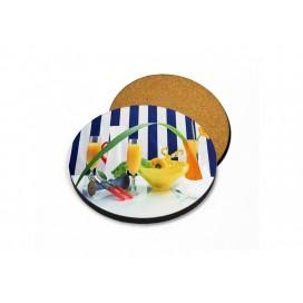 HB木质杯垫印图   带软木塞   个性定制圆形木质杯垫热转印