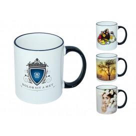 11oz黑色边彩杯个性化logo印图   企业广告礼品定制杯   DIY照片杯