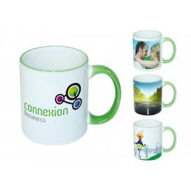 11oz浅绿色边彩杯个性化logo印图   企业广告礼品定制杯   DIY照片杯