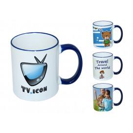 11oz蓝色边彩杯个性化logo印图   企业广告礼品定制杯   DIY照片杯