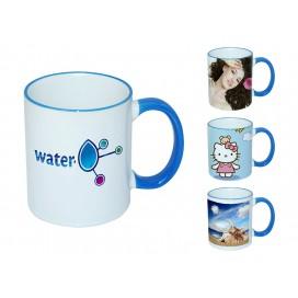 11oz浅蓝色边彩杯个性化logo印图   企业广告礼品定制杯   DIY照片杯