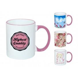 11oz粉红色边彩杯个性化logo印图   企业广告礼品定制杯   DIY照片杯