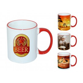 11oz红色边彩杯个性化logo印图   企业广告礼品定制杯   DIY照片杯