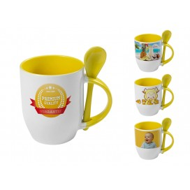 个性化DIY黄色带勺彩杯印图   礼品杯印图   创意带勺广告礼品杯