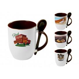 个性化DIY棕色带勺彩杯印图   礼品杯印图   创意带勺广告礼品杯