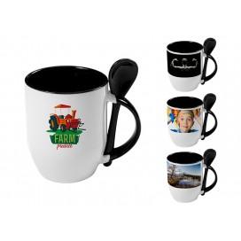 个性化DIY黑色带勺彩杯印图   礼品杯印图   创意带勺广告礼品杯