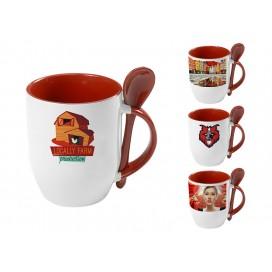 个性化DIY红色带勺彩杯印图   礼品杯印图   创意带勺广告礼品杯