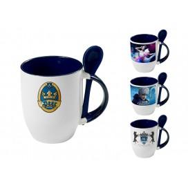 个性化DIY蓝色带勺彩杯印图   礼品杯印图   创意带勺广告礼品杯
