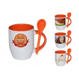 个性化DIY橙色带勺彩杯印图   礼品杯印图   创意带勺广告礼品杯