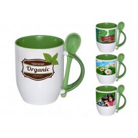 个性化DIY绿色带勺彩杯印图   礼品杯印图   创意带勺广告礼品杯