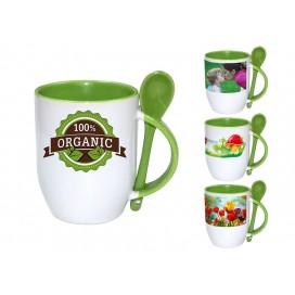 个性化DIY浅绿色带勺彩杯印图   礼品杯印图   创意带勺广告礼品杯