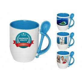 个性化DIY浅蓝色带勺彩杯印图   礼品杯印图   创意带勺广告礼品杯