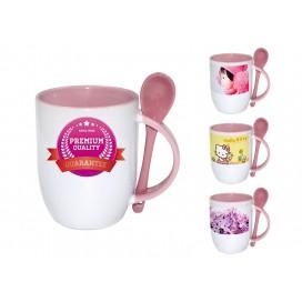 个性化DIY粉红色带勺彩杯印图   礼品杯印图   创意带勺广告礼品杯