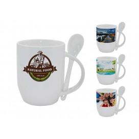 个性化DIY带勺白杯印图   礼品杯印图   创意带勺广告礼品杯