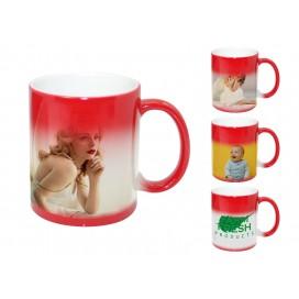 红色变色杯个性定制热转印   高端DIY礼品激光打印杯   烤花变色杯印图