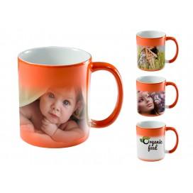 橙色变色杯个性定制热转印   高端DIY礼品激光打印杯   烤花变色杯印图